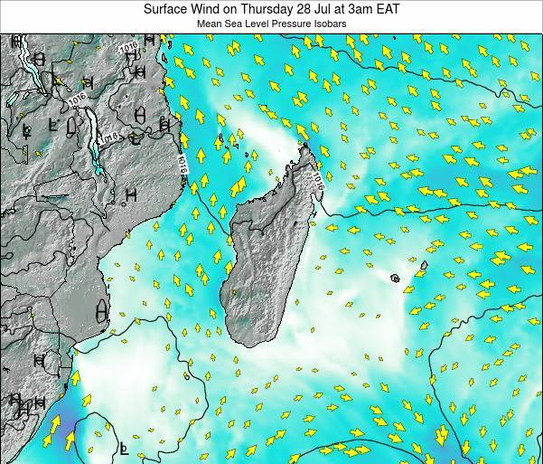 Mauritius Surface Wind on Monday 27 May at 9am EAT