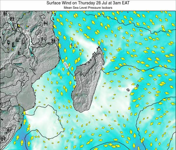 Mauritius Surface Wind on Friday 24 May at 3pm EAT