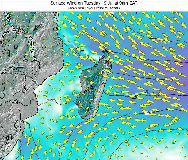 Reunion Surface Wind on Thursday 13 Mar at 3am EAT