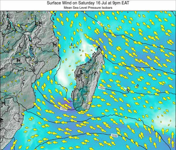 Reunion Surface Wind on Monday 10 Mar at 3am EAT