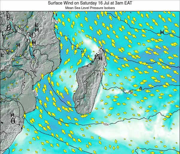 Reunion Surface Wind on Thursday 24 Apr at 3pm EAT