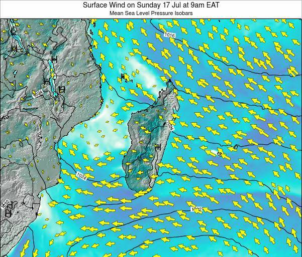 Reunion Surface Wind on Thursday 31 Jul at 9pm EAT