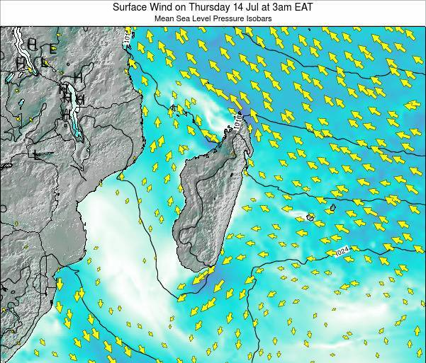 Reunion Surface Wind on Tuesday 10 Dec at 9am EAT