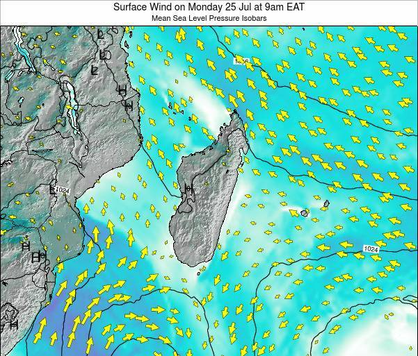 Mauritius Surface Wind on Wednesday 22 May at 3am EAT