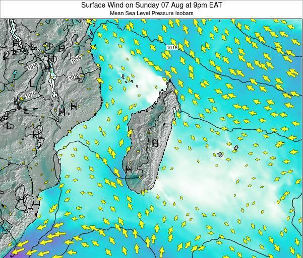 Reunion Surface Wind on Friday 25 Jul at 9am EAT