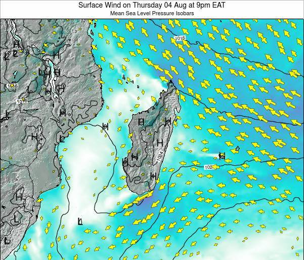 Reunion Surface Wind on Wednesday 16 Apr at 3pm EAT