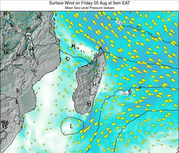 Reunion Surface Wind on Tuesday 01 Dec at 9am EAT