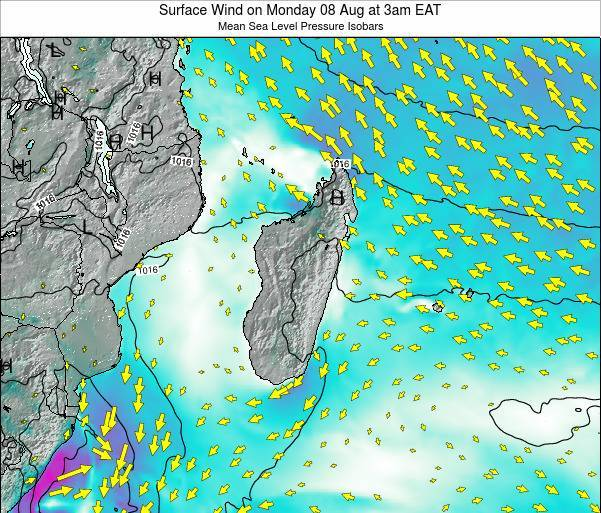 Mauritius Surface Wind on Friday 24 May at 9am EAT