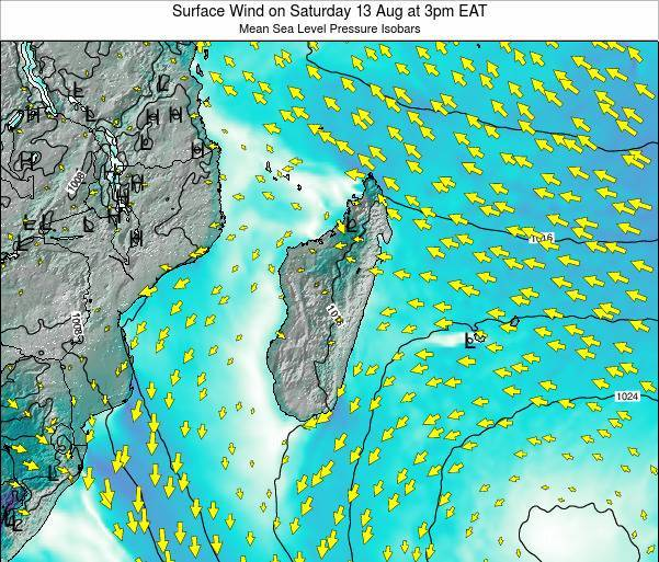 Mauritius Surface Wind on Wednesday 29 May at 3pm EAT