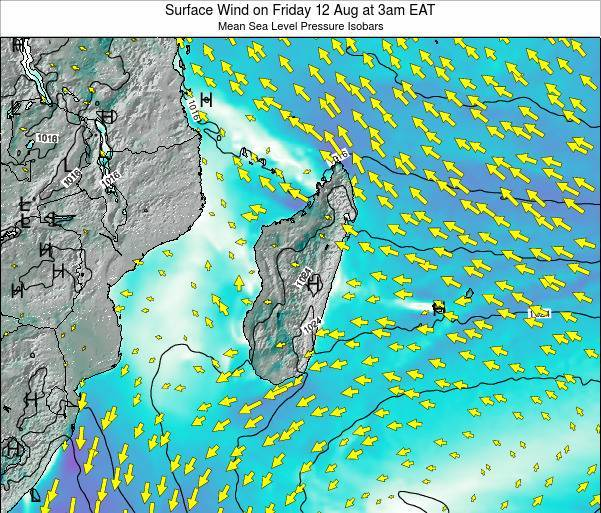 Mauritius Surface Wind on Wednesday 29 May at 3am EAT