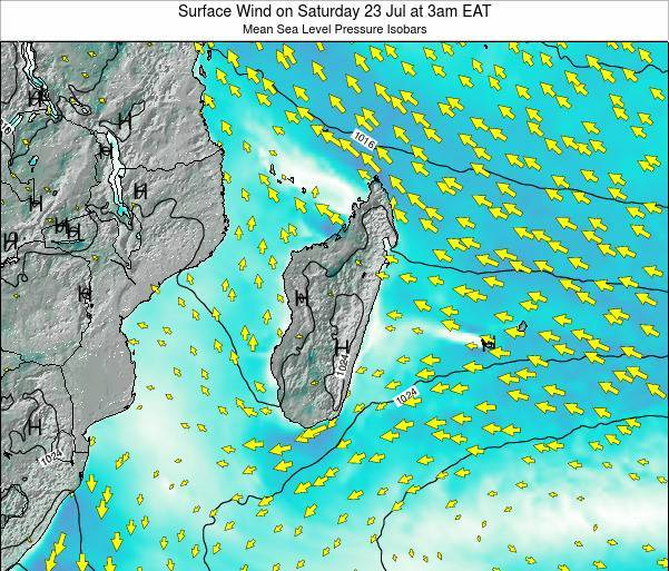 Mauritius Surface Wind on Tuesday 21 May at 9am EAT