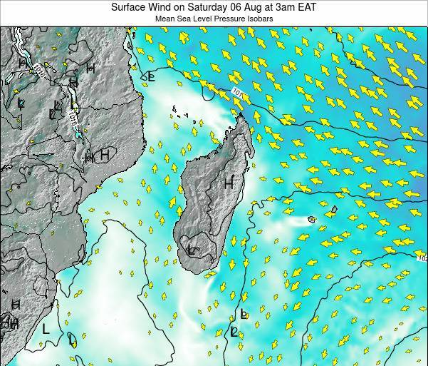 Mauritius Surface Wind on Monday 27 May at 3pm EAT