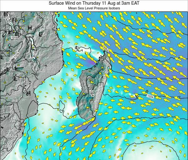 Mauritius Surface Wind on Monday 20 May at 9pm EAT