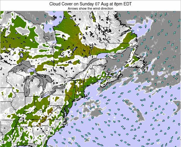 Maine Cloud Cover on Monday 20 May at 8am EDT