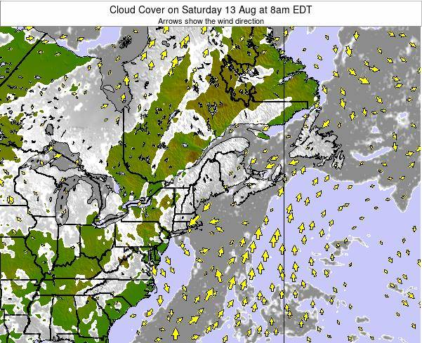 Maine Cloud Cover on Monday 24 Jun at 8pm EDT