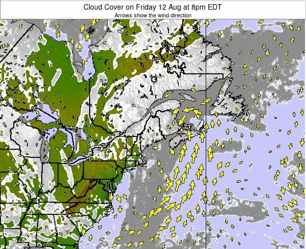 Maine Cloud Cover on Tuesday 28 May at 2am EDT map