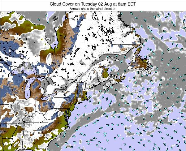 Maine Cloud Cover on Saturday 25 May at 2am EDT map