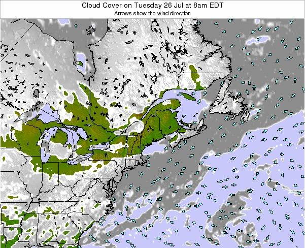 Maine Cloud Cover on Tuesday 21 May at 2am EDT