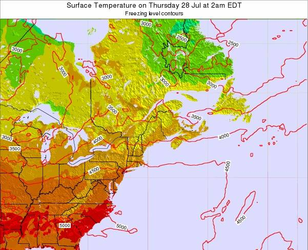 New-Hampshire Surface Temperature on Saturday 08 Mar at 7am EST map