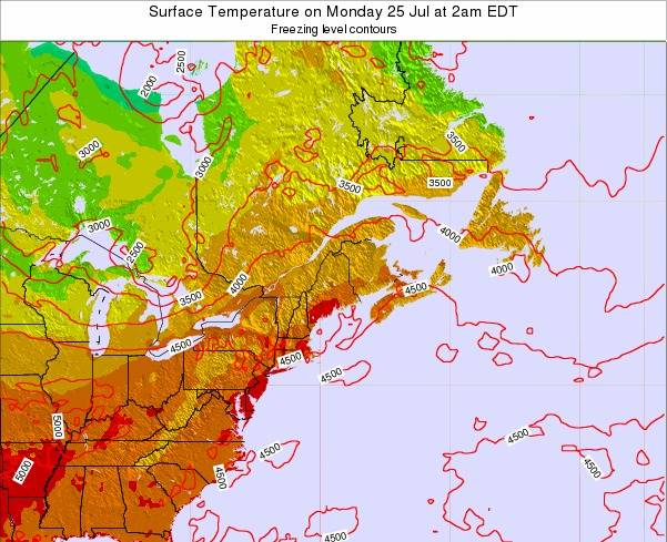 New-Hampshire Surface Temperature on Wednesday 16 Apr at 2pm EDT map