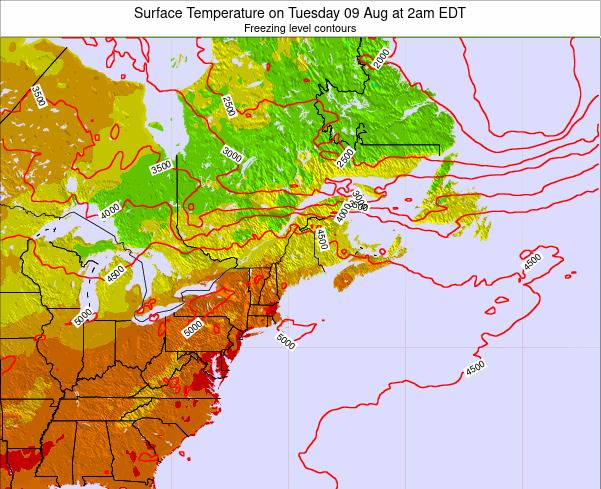 New-Hampshire Surface Temperature on Wednesday 04 Dec at 7pm EST map