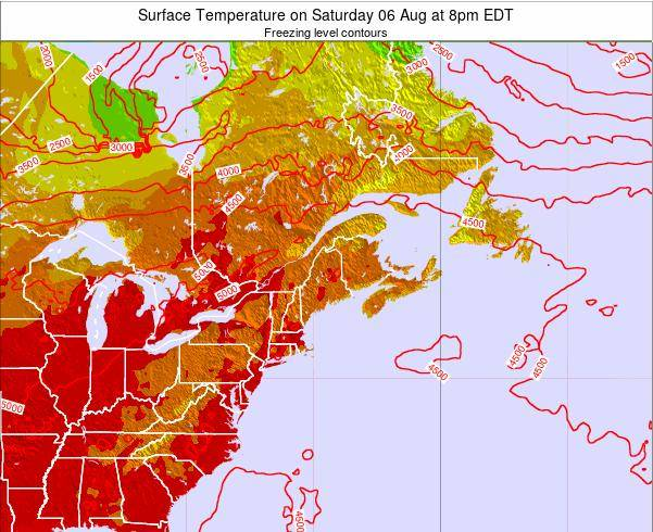 New-Hampshire Surface Temperature on Wednesday 30 Jul at 8pm EDT map