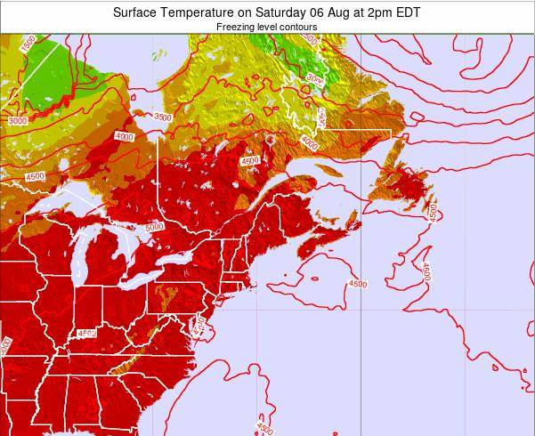 New-Hampshire Surface Temperature on Friday 25 Jul at 2am EDT map