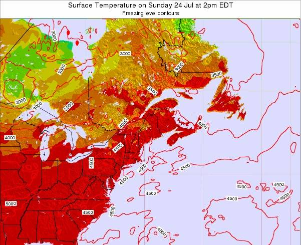 Maine Surface Temperature on Wednesday 19 Jun at 8pm EDT