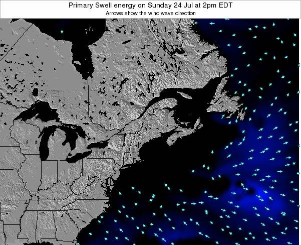 Maine Primary Swell energy on Saturday 25 Oct at 8am EDT