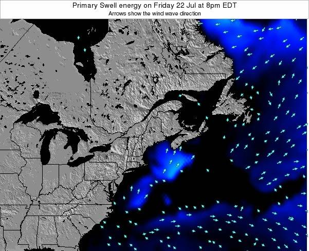 Maine Primary Swell energy on Sunday 19 Aug at 8pm EDT map