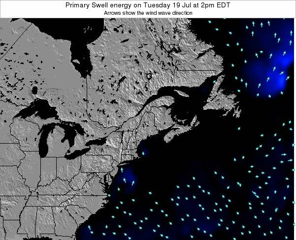Maine Primary Swell energy on Monday 22 Oct at 8pm EDT map