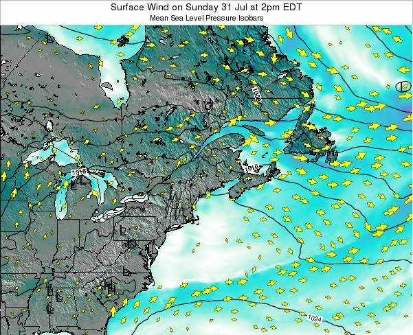 New-Hampshire Surface Wind on Friday 21 Jun at 2am EDT