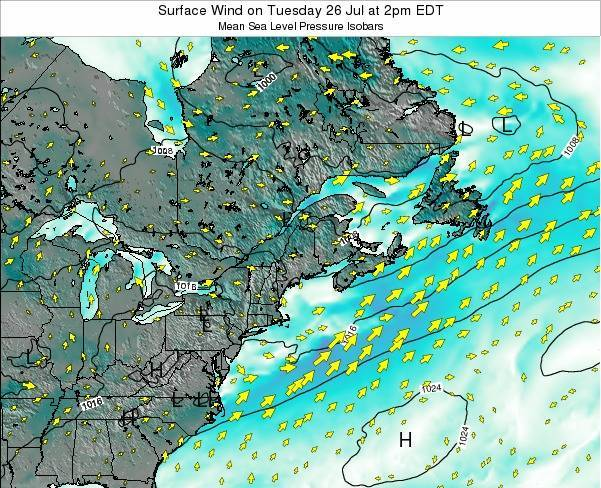 New-Hampshire Surface Wind on Saturday 26 Apr at 2am EDT