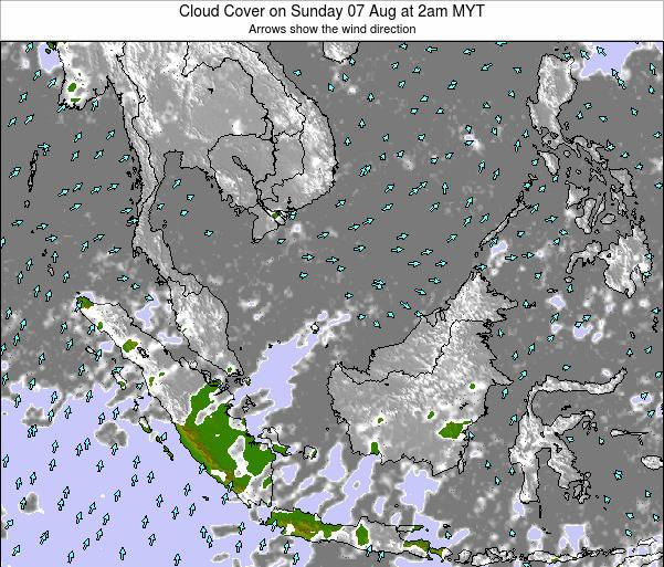 Brunei Darussalam Cloud Cover on Wednesday 22 May at 2am MYT map