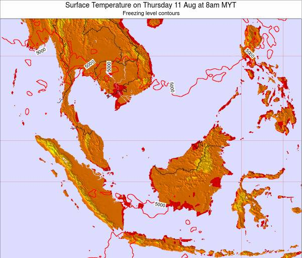 Brunei Darussalam Surface Temperature on Tuesday 28 May at 8am MYT