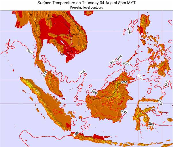 Brunei Darussalam Surface Temperature on Sunday 26 May at 2pm MYT