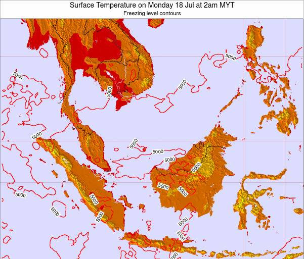 Brunei Darussalam Surface Temperature on Thursday 23 May at 8am MYT map