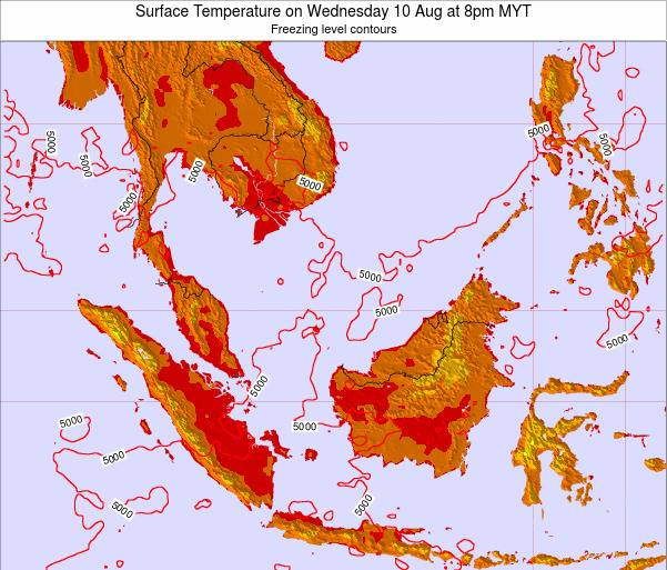 Brunei Darussalam Surface Temperature on Monday 27 May at 2pm MYT
