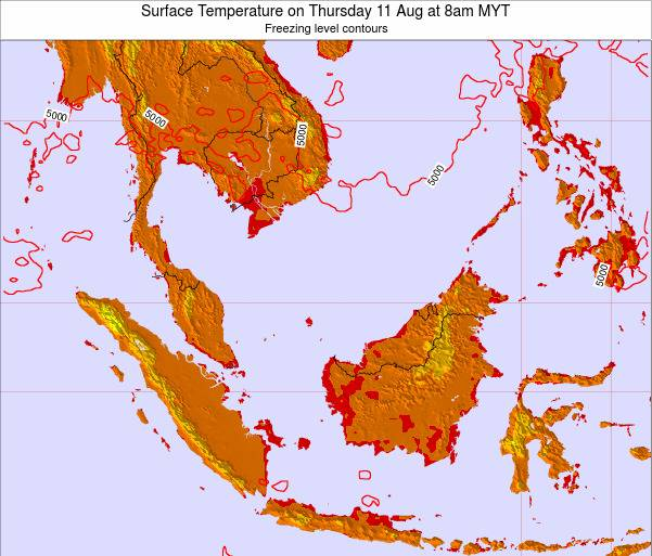 Brunei Darussalam Surface Temperature on Wednesday 29 May at 8am MYT