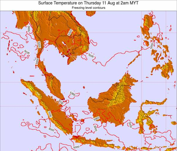 Brunei Darussalam Surface Temperature on Tuesday 28 May at 2am MYT