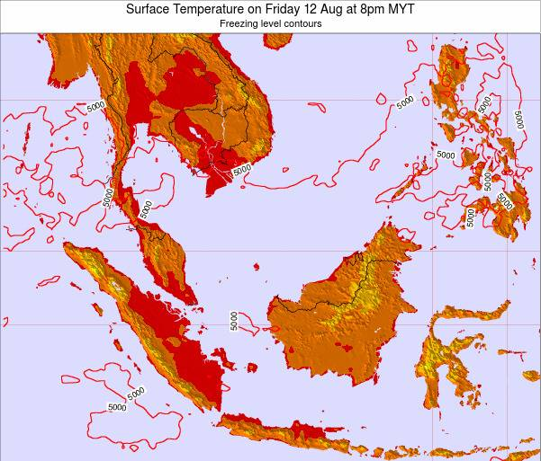 Brunei Darussalam Surface Temperature on Monday 27 May at 8am MYT