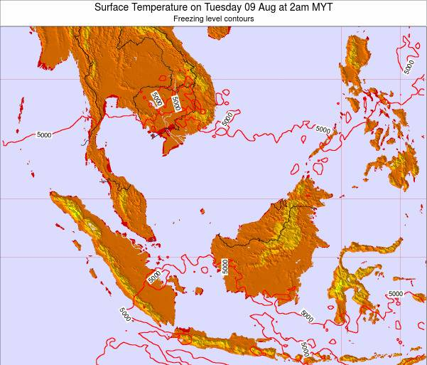 Malaysia Surface Temperature on Sunday 26 May at 2pm MYT