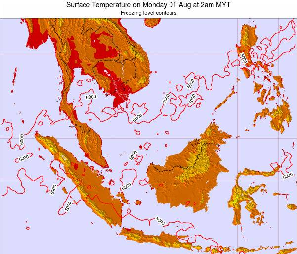 Malaysia Surface Temperature on Thursday 20 Jun at 8pm MYT