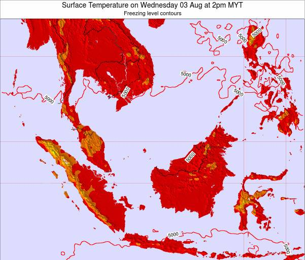 Brunei Darussalam Surface Temperature on Sunday 19 May at 8am MYT