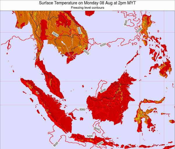 Brunei Darussalam Surface Temperature on Sunday 19 May at 2pm MYT