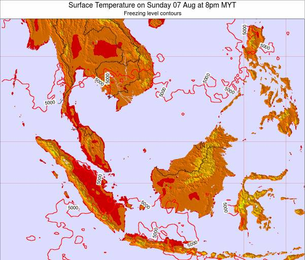 Brunei Darussalam Surface Temperature on Friday 21 Jun at 2pm MYT