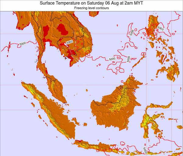 Brunei Darussalam Surface Temperature on Friday 21 Jun at 8pm MYT