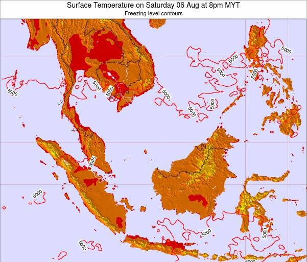 Brunei Darussalam Surface Temperature on Monday 20 May at 2pm MYT