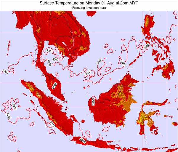 Malaysia Surface Temperature on Tuesday 21 May at 2pm MYT
