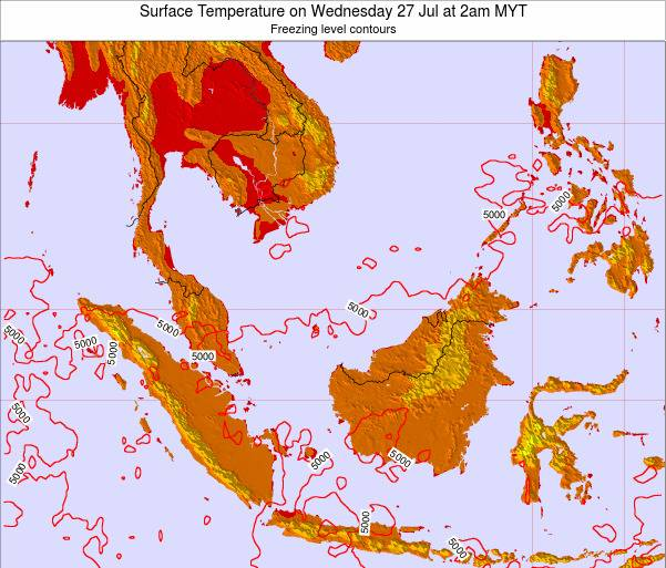 Brunei Darussalam Surface Temperature on Sunday 26 May at 8pm MYT